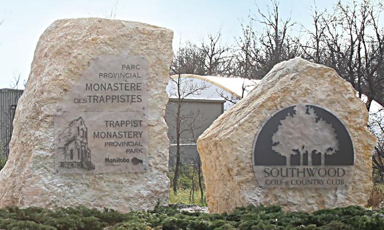 Stony Mountain Sign Stone